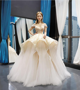 Ball Gown Cape Sleeves V Neck Lace Tulle Prom Dresses Evening Dresses,MD202096