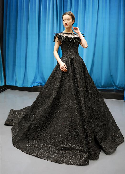 Ball Gown Cap Sleeves Round Neck  Applique Satin Prom Dresses Evening Dresses,MD202098