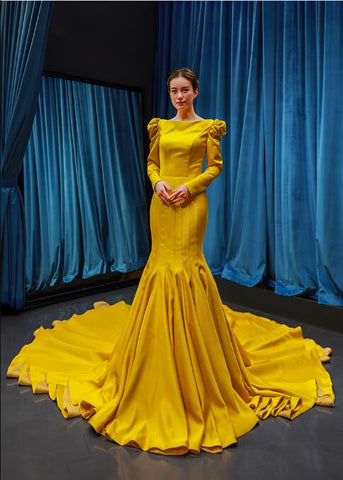 Mermaid Long Sleeves Round Neck Satin Prom Dresses Evening Dresses,MD202099
