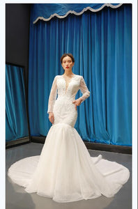 Mermaid Long Sleeves V Neck Lace Tulle Prom Dresses Evening Dresses,MD202102