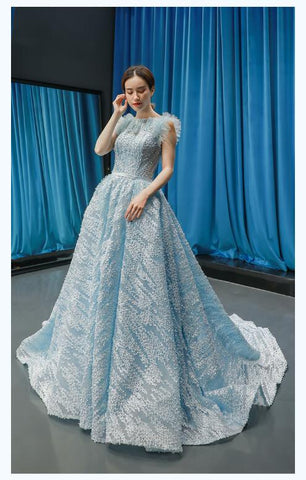 Ball Gown Cap Sleeves Round Neck Lace Satin Prom Dresses Evening Dresses,MD202104