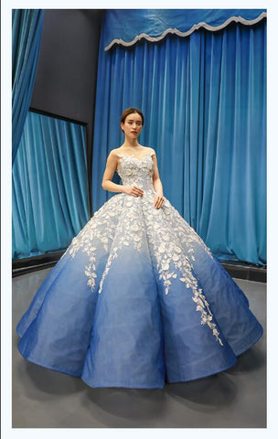 Ball Gown Cap Sleeves Illusion Applique Satin Prom Dresses Evening Dresses,MD202105