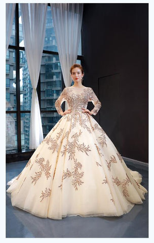 Ball Gown Long Sleeves Illusion Lace Tulle Prom Dresses Evening Dresses,MD202107