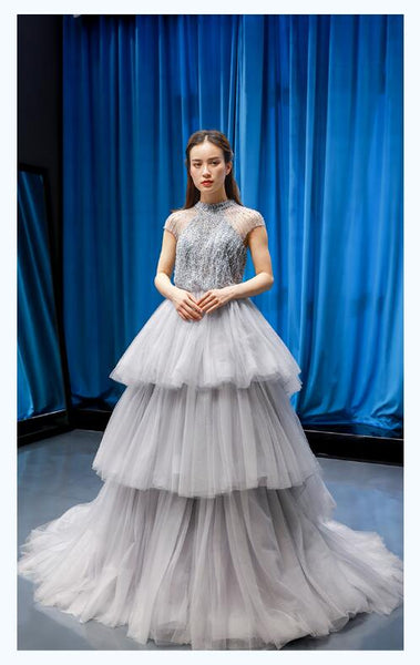 A Line Cap Sleeves High Neck Beading Tulle Prom Dresses Evening Dresses,MD202109