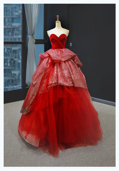 Ball Gown Sleeveless Sweetheart Tulle Prom Dresses Evening Dresses,MD202110