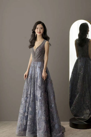 A Line Sleeveless V Neck Beading Prom Dresses 2021 Lace Evening Dresses ,HS2001