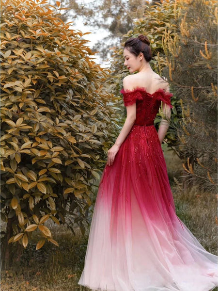 A Line Cape Sleeves Square Beading Prom Dresses 2021 Red Evening Dresses ,HS2002