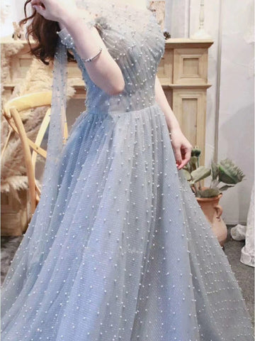 A Line Cape Sleeves One Shoulder Beading Prom Dresses 2021 Evening Dresses ,HS2004