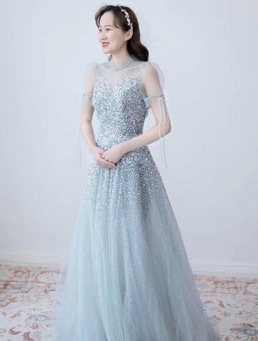 $169.00 A Line Short Sleeves V Neck Beading Prom Dresses 2021 Evening Dresses ,HS2005