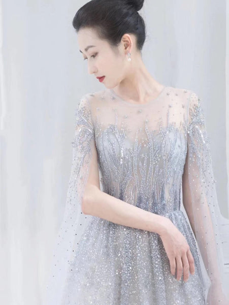 $199.00 A Line Cap Sleeves Illusion Beading Prom Dresses 2021 Evening Dresses ,HS2006