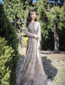 $229.00 A Line Long Sleeves Illusion Beading Prom Dresses 2021 Evening Dresses ,HS2009