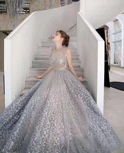 $249.00 A Line Long Sleeves Illusion Beading Prom Dresses 2021 Evening Dresses ,HS2010