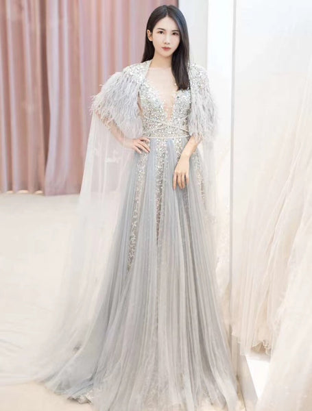 $259.00 A Line Cap Sleeves V Neck Beading Prom Dresses 2021 Evening Dresses ,HS2011