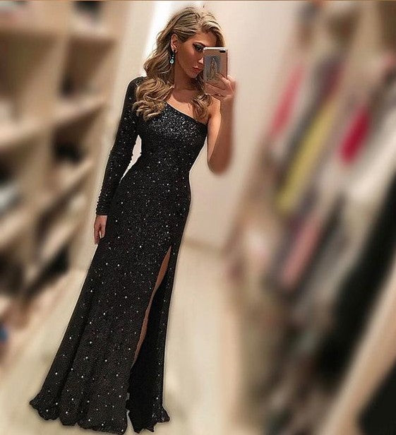 3f1be824ab3 2018 sexy long prom dress one sleeve mermaid evening dress with high slit