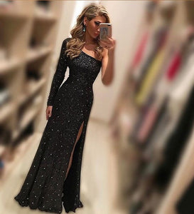 2018 sexy long prom dress one sleeve mermaid evening dress with high slit,HS207