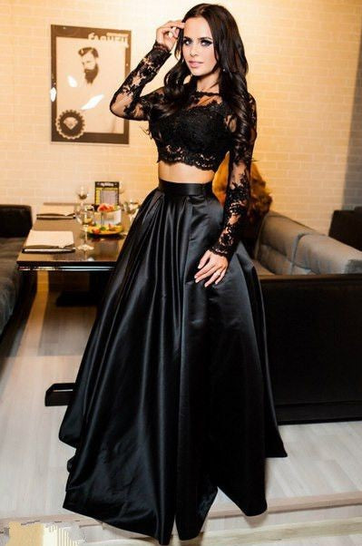 two pieces lace prom dress a-line satin black long evening dress,HS214