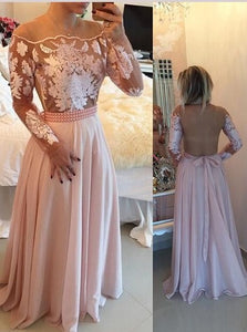Full Sleeve Prom Dress, Sexy Sheer Back Long Evening Dresses, Appliques Pink Prom Gowns,HS221