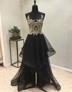 unique hi-lo black tulle A-line long prom dress, PD4712
