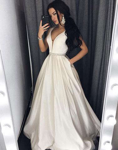 charming white satin v-neck A-line long prom dress, PD4711
