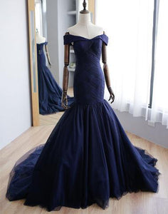 off shoulder mermaid navy blue tulle long long prom dress, PD9978