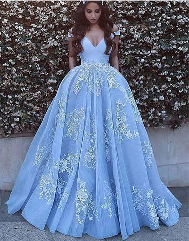 A-line off shoulder blue tulle lace appliques long prom dress, PD7677
