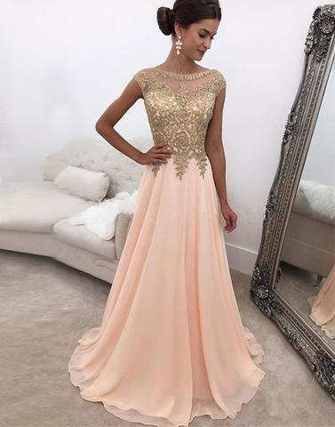 cap sleeves appliques chiffon blush pink long prom dress, PD9679
