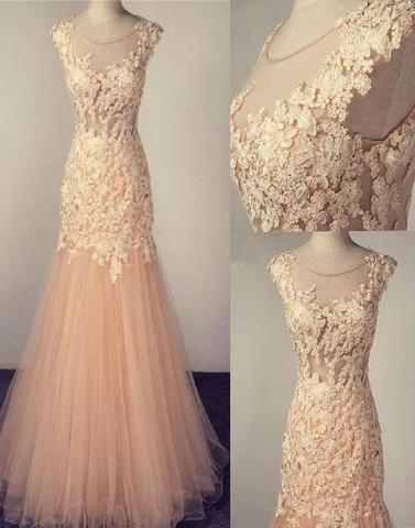 blush pink tulle mermaid scoop long lace appliques prom dress, PD1145