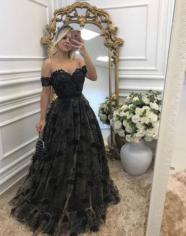 A-line black lace off shoulder formal long prom dress, PD6847