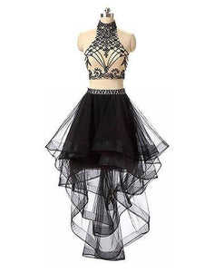 high neck beaded hi-lo black two pieces party prom dress, PD9978