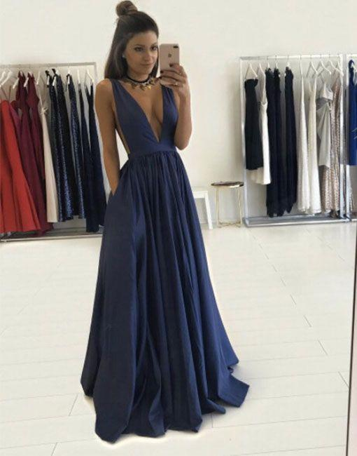 long prom dress, v-neck prom dress, 2018 evening dress, cheap prom dress, BD384