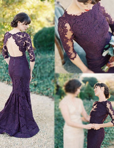 Grape Bridesmaid Dress, Half Sleeves Bridesmaid Dress,Mermaid Bridesmaid Dress, Sweep Train Bridesmaid Dress, Lace Open Back Bridesmaid Dress, PD02