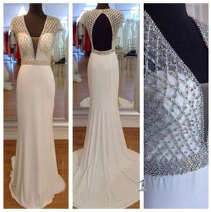 white prom dress, long prom dress, cap sleeves prom dress, open back prom dress, mermaid evening dress, BD35