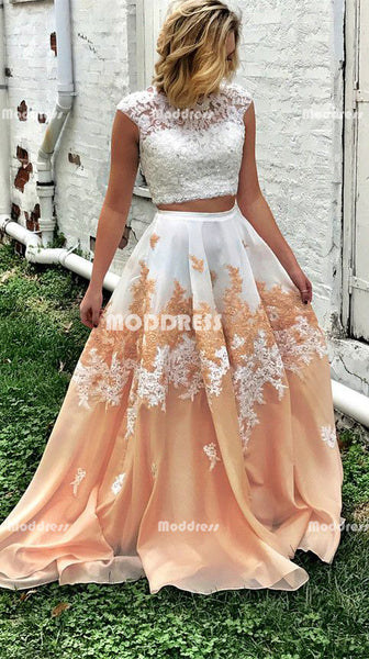 2 Pieces Applique Long Prom Dresses Lace Evening Dresses A-Line Formal Dresses