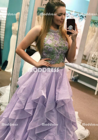 2 Pieces Beaded Long Prom Dresses Applique Evening Dresses A-Line Formal Dresses