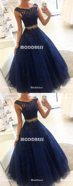 2 Pieces Beaded Long Prom Dresses Applique Evening Dresses Tulle Formal Dresses