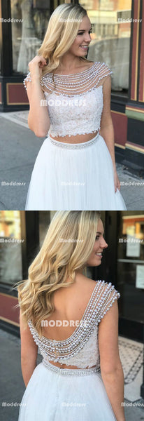 2 Pieces Beaded Long Prom Dresses Applique Evening Dresses White A-Line Formal Dresses