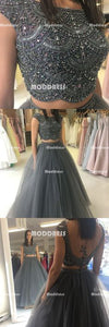 2 Pieces Beaded Long Prom Dresses Backless Evening Dresses Tulle A-Line Formal Dresses