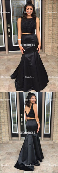 2 Pieces Beaded Long Prom Dresses Black Mermaid Evening Dresses V-Back Formal Dresses