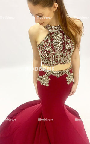 2 Pieces Beaded Long Prom Dresses Red Mermaid Evening Dresses Sleeveless Formal Dresses