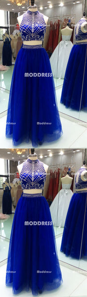 2 Pieces Beaded Long Prom Dresses Royal Blue Evening Dresses High Neck A-Line Formal Dresses
