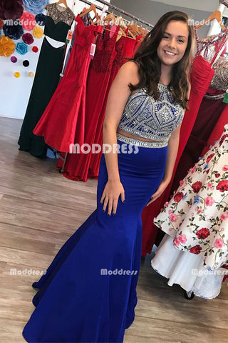 2 Pieces Beaded Long Prom Dresses Royal Blue Mermaid Evening Dresses Backless Formal Dresses