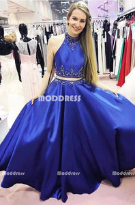 2 Pieces Beaded Long Prom Dresses Satin A-Line Formal Dresses Royal Blue Formal Dresses