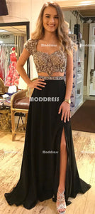 2 Pieces Beaded Long Prom Dresses Short Sleeve Evening Dresses Chiffon A-Line Formal Dresses with High Slit