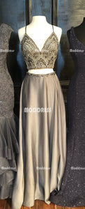 2 Pieces Beaded Long Prom Dresses Spaghetti Straps Formal Dresses V-Neck A-Line Evening Dresses