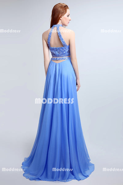 2 Pieces Beaded Long prom Dresses A-Line Evening Dresses Sleeveless Formal Dresses