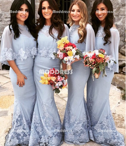 2 Pieces Bridesmaid Dresses Mermaid Bridesmaid Dresses Applique Long Bridesmaid Dresses