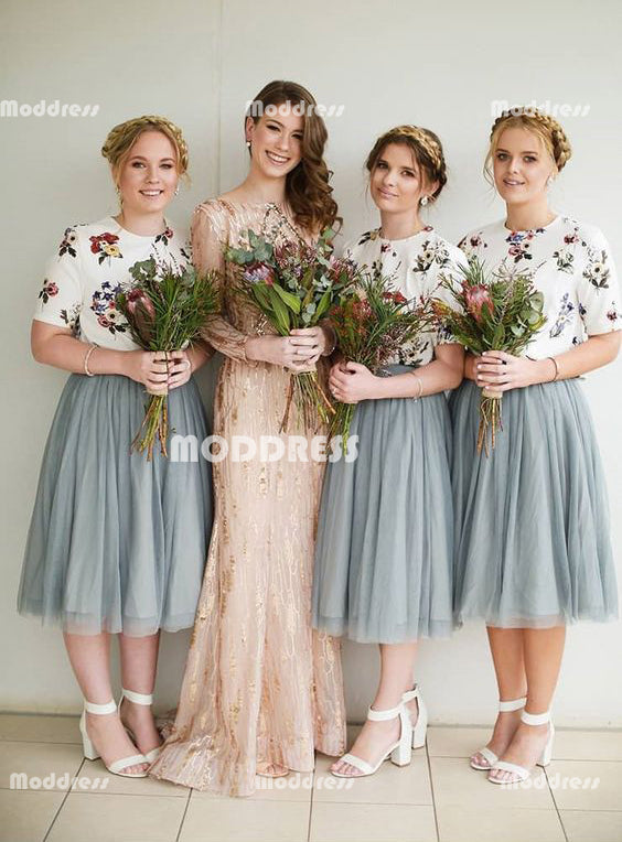 2 Pieces Bridesmaid Dresses Tulle Short Bridesmaid Dresses,HS934