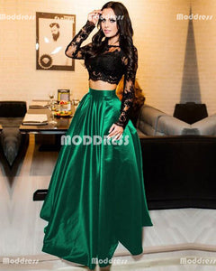 2 Pieces Green Long Prom Dresses Lace Long Sleeve Evening Dresses Satin A-Line Formal Dresses