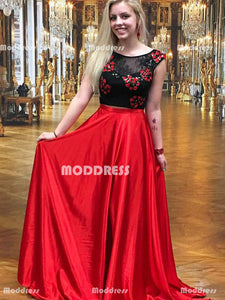 2 Pieces Homecoming Dresses Applique Long Prom Dresses A-Line Evening Formal Dresses
