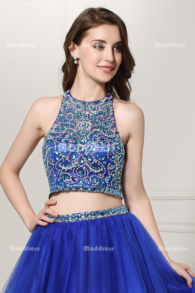 2 Pieces Homecoming Dresses Beading Short Prom Dresses Sleeveless Evening Formal Dresses